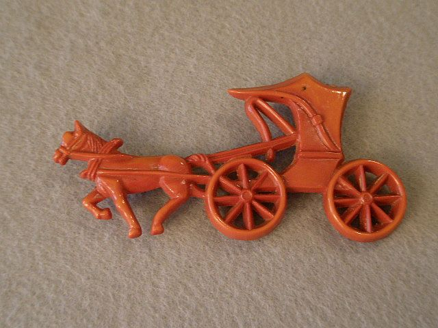 "Sorrento - Plastic ""Carriage w/Horse"" Figural Brooch"