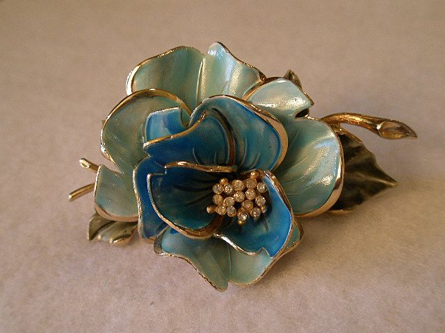 Coro Vendome Gold-Tone, Enameled Floral & Rhinestone Decorated Brooch