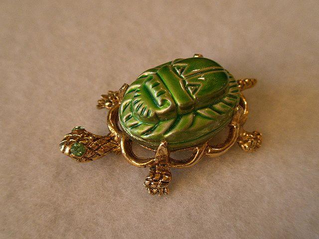 Alice Caviness Gold-Tone Figural Turtle Brooch w/Scarab Shell & Rhinestone Eyes