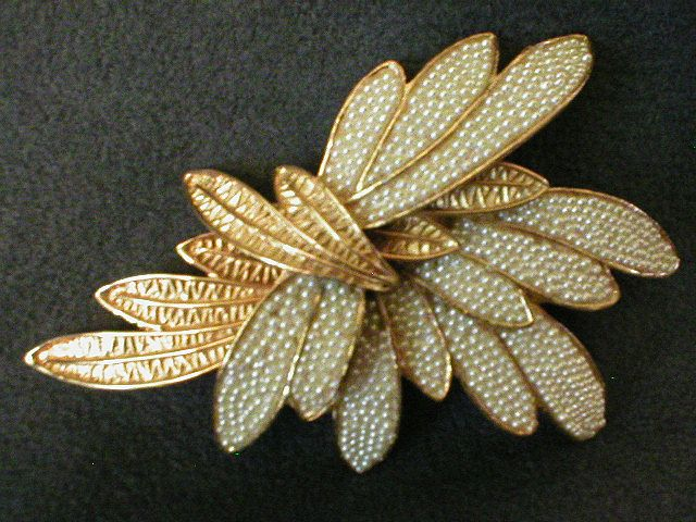 Coro Vendome Gold-Tone & Faux Seed Pearls Layered Leaf-Design Brooch
