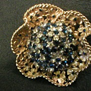 "Boucher ""Flowers within Flower"" Gold/Silver-Tone Brooch w/Blue and Clear Rhinestones"