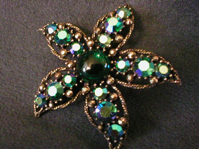 Weiss Starfish Antiqued Silver-Tone Brooch w/Blue/Green Cabochon & A.B.Rhinestones
