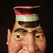 "Sarreguemines Majolica ""The Black Bill"" Face Jug"