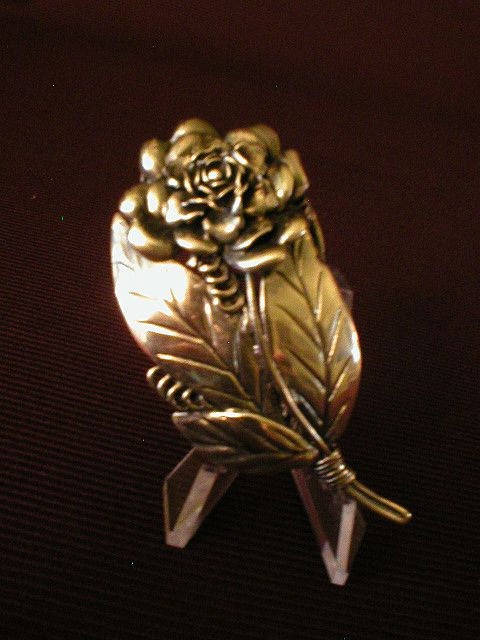Hobe Sterling Floral Bouquet Brooch w/Large Rose and Leaves
