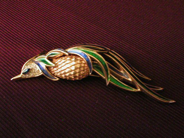 "Trifari ""Bird of Paradise"" Enamel & Rhinestone Brooch"