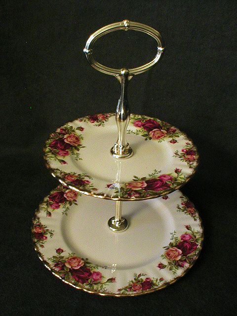 "Royal Albert Bone China ""Old Country Roses"" 2-Tiered Serving Tray"