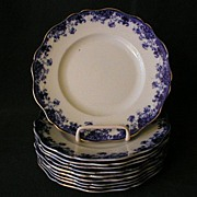 "Set of 10 - John Maddock & Sons Flow Blue ""Linda"" Pattern Salad/Dessert Plates"