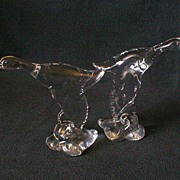 "Heisey Crystal ""Mallard Duck - Wings Down"" Figurine - Marked ""H"""