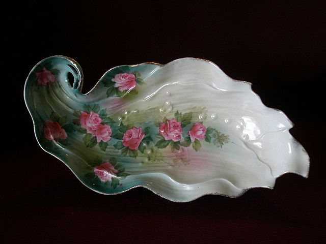 "Wheelock ""Prussia"" Leaf-Shape Celery/Relish Tray w/Embossed & Floral Decoration"