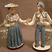 "Pair of Hedi Schoop ""Peasants"" Figurine/Vases"