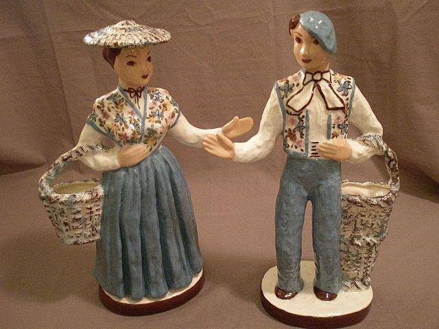 """Pair of Hedi Schoop """"Peasants"""" Figurine/Vases"""
