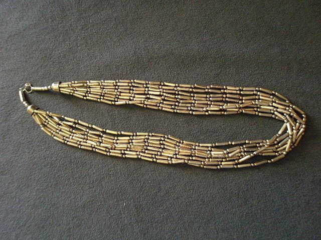 10-Strand Silver-Tone Beaded Designer Necklace