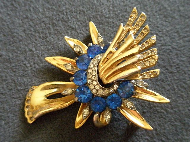 Sterling Silver w/Gold Vermeil Brooch Studded with Blue Sapphire & Diamond Rhinestones