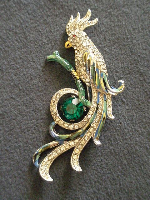 "Vintage ""Cockatoo"" Brooch w/Pave Diamond Rhinestones & Enameled Highlights"