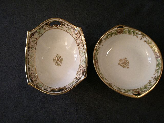 Pair of Nippon Hand-Painted Nappies w/Floral Decoration