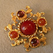 """Philippe Ferrandis"" Gold-Tone & Colored Cabochon Brooch"