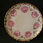 T & V Limoges China H.P. Cabinet Plate Decorated with Pink Roses