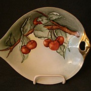 Weimer Porcelain H.P. & Signed Nappie Dish w/Cherry Fruit Decoration