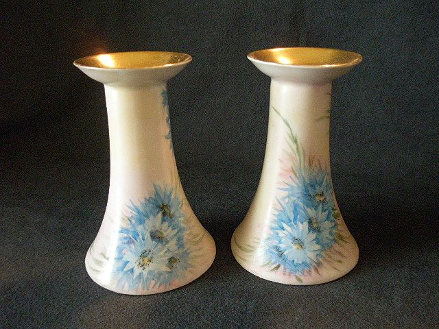 Pair of German Hand Painted Candlesticks with Blue Cornflower Decoration