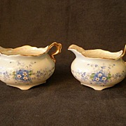 J.H. Stouffer H.P. Sugar & Creamer w/Blue Forget-Me-Not Decoration