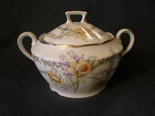 German China Cracker/Biscuit Jar w/Spring Floral & Fern Decoration
