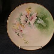 Julius H. Brauer Studio Hand Painted Cabinet Plate w/ Pink Poppy Decoration