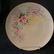 Julius H. Brauer Studio Hand Painted Cabinet Plate w/Apple Blossom Decoration