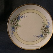 J.H. Stouffer Hand Painted Cabinet Plate w/Daisy and Forget-Me-Not Floral Decoration