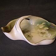 R.S. Germany (Green Mark) Bon-Bon Basket w/Pastel White/Green Poppy Decoration