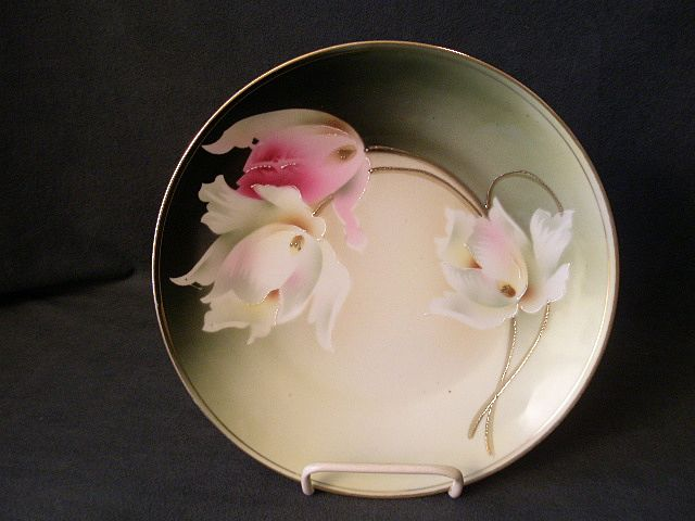 R. S. Germany (Green Mark) Cabinet Plate w/Pink & White Tulips Decoration
