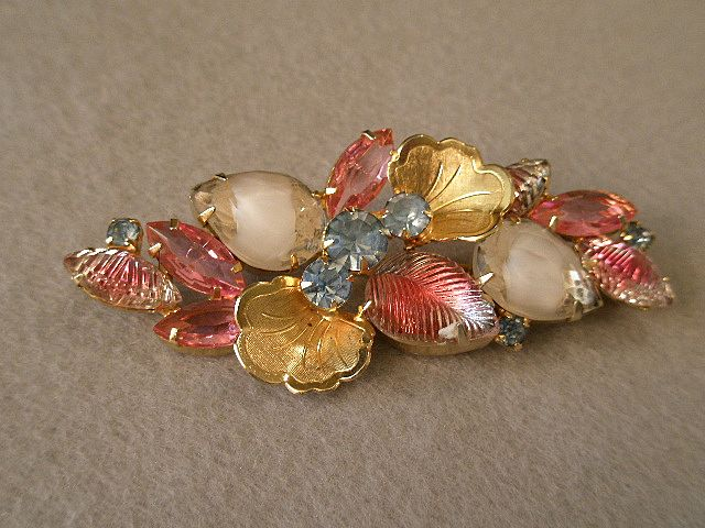 Juliana (DeLizza & Elster) Gold-Tone and Rhinestone Brooch