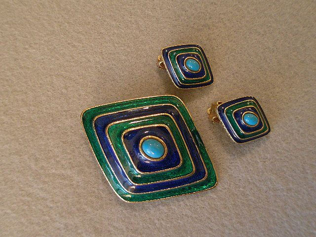 Florenza Enameled, Faux Turquoise & Gold-Tone Brooch & Clip Earrings Demi Parure