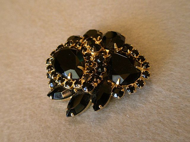 Juliana (DeLizza & Elster) Gold-Tone and Black Rhinestone Brooch