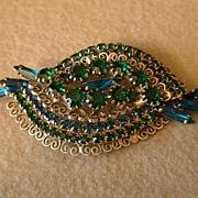 Juliana (DeLizza & Elster) Silver-Tone Brooch w/Emerald & Blue Sapphire Rhinestones