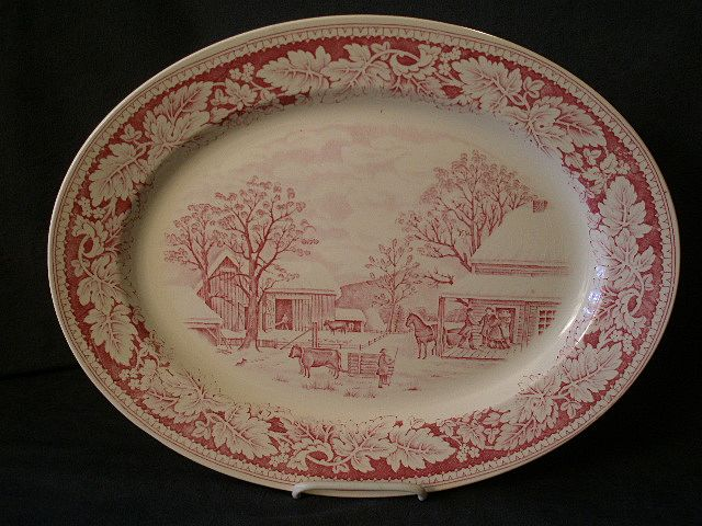 "Homer Laughlin ""Americana Series - Home To Thanksgiving"" Oval Platter"
