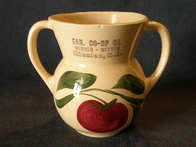 "Watt Pottery ""#89 Apple-3 Leaf"" Open Sugar Bowl w/ Mission S.D. Advertising"