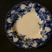 "Set of 2 - New Wharf Flow Blue ""Lois"" Pattern Soup Bowls"