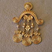 Coro Vendome Gold-Tone Renaissance Revival Style Brooch