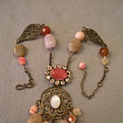 """Philippe Ferrandis"" Bronze-Tone Metal, Rhinestones, Beads, & Polished Stones Necklace"