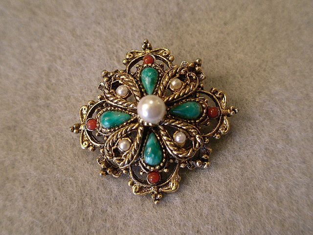 """Art"" or ""Mode-Art"" Classic Style Brooch Of Gold-Tone w/Faux Pearls & Colored Cabochons"