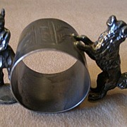 Victorian Silver Plated Figural Napkin Ring w/Viking Warrior & Karelain Dog