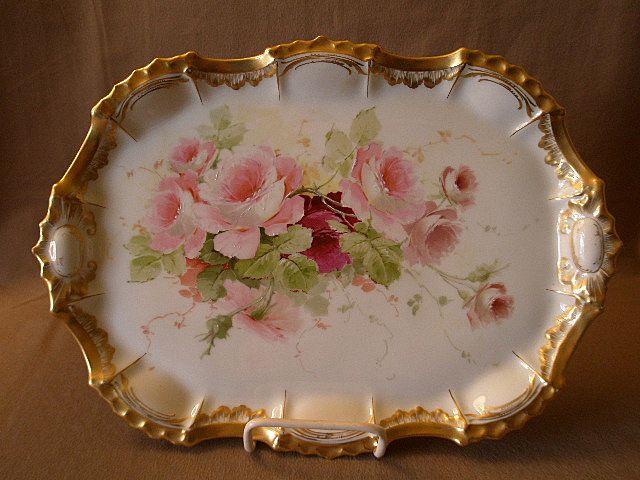 Hand Painted Porcelain Dresser Serving Tray W Tea Roses