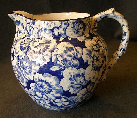 "Buffalo Pottery ""Geranium"" Pattern Jug/Pitcher in Cobalt Blue"