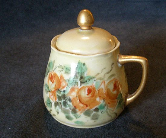 Silesia Hand Painted Mustard Pot w/ Deep Yellow Rose Motif