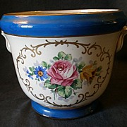 Trenton Art China Jardiniere w/ Colorful Floral Motif
