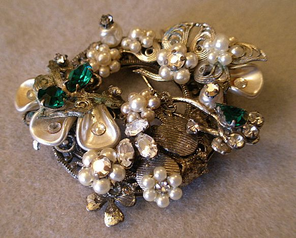 """Original by Robert"" Wreath-Shaped Brooch w/faux Pearls, Clear & Emerald Rhinestones"