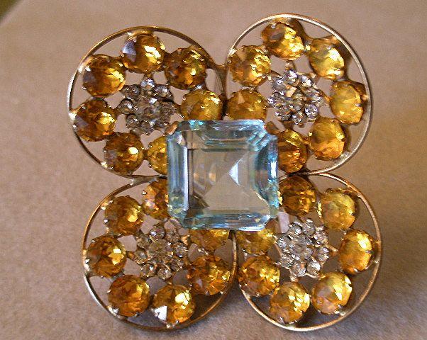 """""""Fred A Block"""" Dimensional Brooch w/Aquamarine, Topaz & Diamond Rhinestones"""