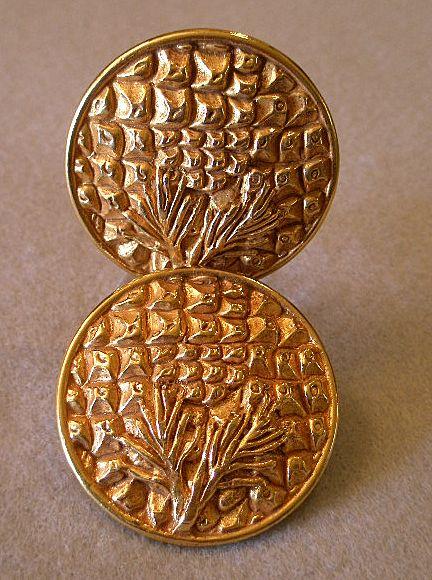 """Dominique Aurientis"" Embossed Gold-Tone Clip Earrings"