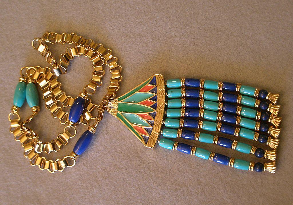 "Hattie Carnegie ""Egyptian Revival"" Lotus Pendant Necklace"
