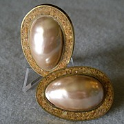 """Celia Sebiri"" Vintage Faux Baroque Pearl w/Inlaid Crushed Agate Quartz Border Clip Earrings"